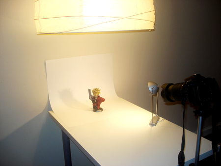 Here's the set up: Studio Setup. Lean the table against the wall.