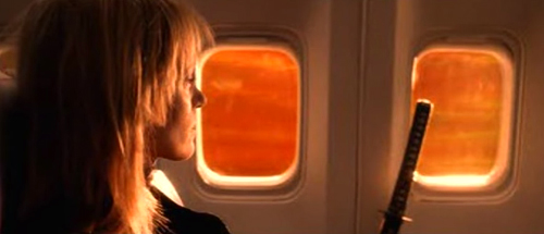 Kill Bill: Bride with katana on airplane