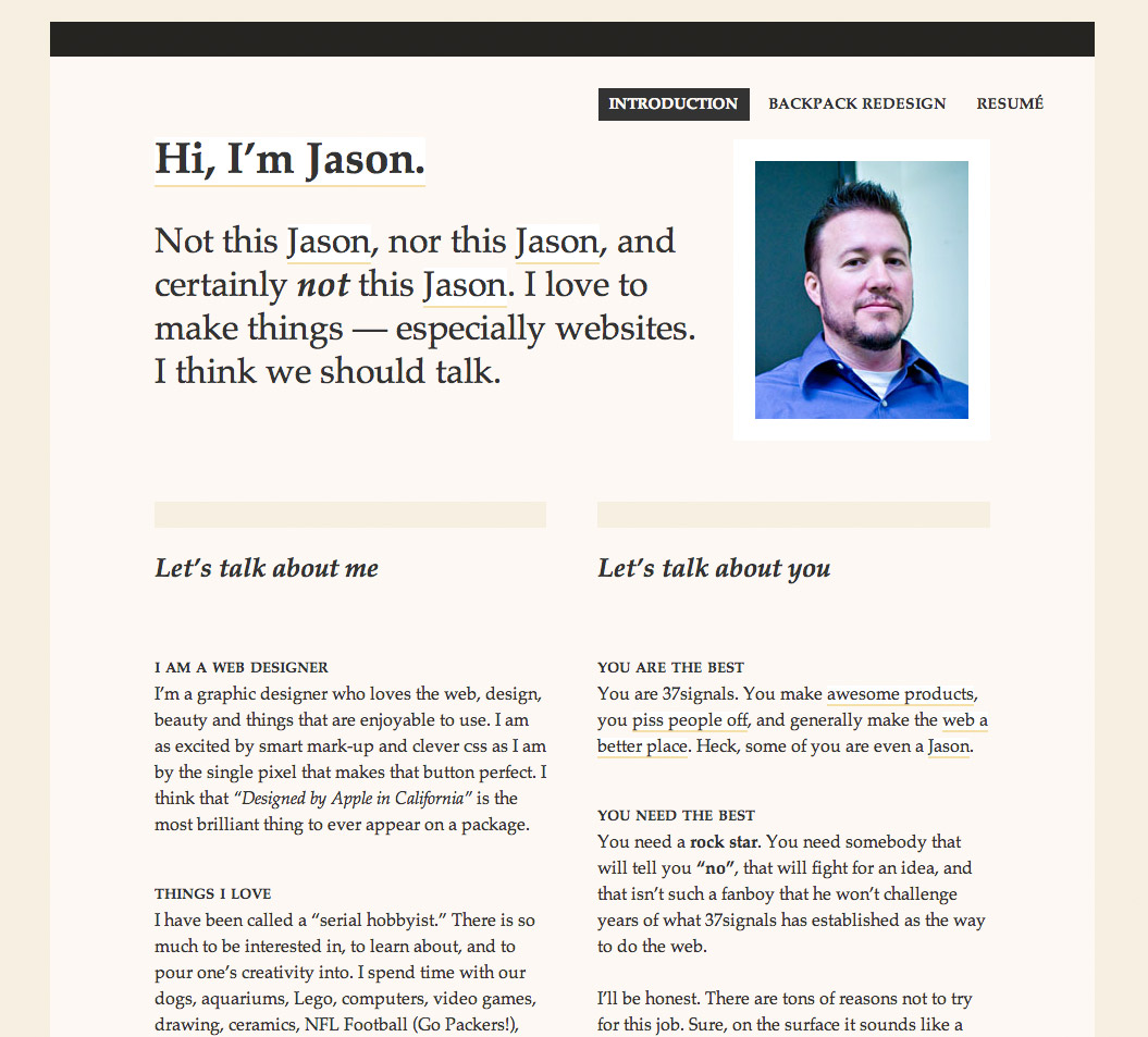 Jason Zimdars's application page to 37signals